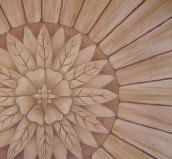 faux bois marquetry (detail) on foyer floor - private residence, boston, ma