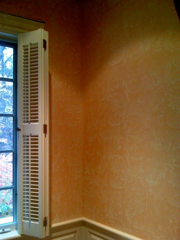 master bathroom lace imprint glaze - private residence - weston, ma