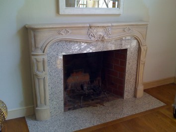 antique stone finish fireplace mantel - private residence - weston, ma