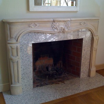 antique stone finish fireplace mantel - private residence - weston, ma