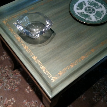 painted, glazed, and stenciled coffee table - private club - weston, ma