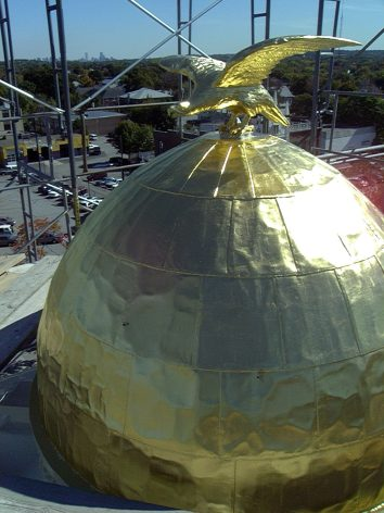 gilt copper dome - city hall - waltham, ma