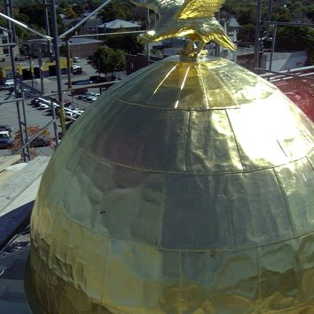gilt copper dome - city hall - waltham, ma