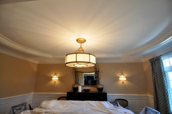 dining room gold leaf ceiling (before)- lincoln, ma
