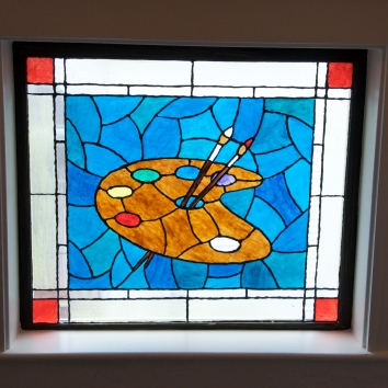 faux stained glass window - belmont, ma