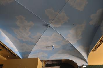 restaurant sky mural ceiling (during construction phase) - EAT California Diner - minami-aoyama, minato-ku