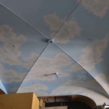 restaurant sky mural ceiling (during construction phase) - EAT California Diner - minami-aoyama, minato-ku