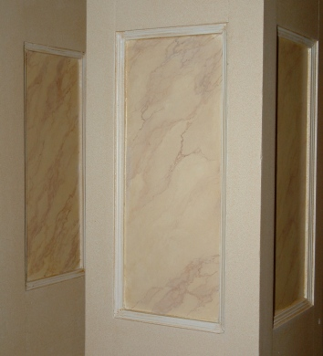 faux marbre foyer pilaster panels (detail)- private residence - boston, ma