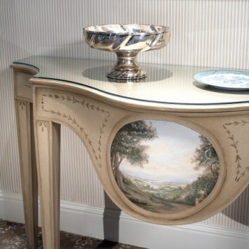 side table with trompe l'oeil moulding and pastoral landscape - private club - weston, ma